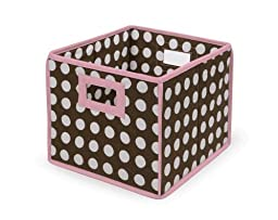 Badger Basket Folding Nursery Basket/Storage Cube, Brown Dot/Pink