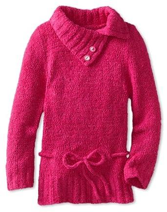 Amy Byer Big Girls' Soft Textured Plush Sweater, Pink, Medium