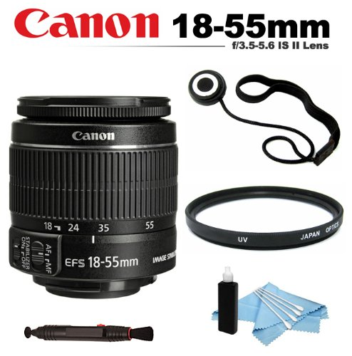 Canon Ef-S 18-55Mm F/3.5-5.6 Is Ii Autofocus Lens (White Box) + Uv (Ultra Violet) Filter + Lens Cap Keeper + Lens Cleaning Pen + Cleaning Kit For Canon 70D, Sl1, 60D, 7D, T5I, T4I, T3I, T3, T2I, T1I, Xsi, Xs