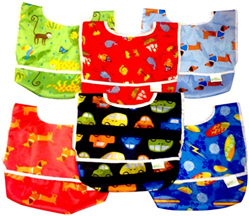 green sprouts 6 Pack Best EVA Waterproof Bib, 6-12 months Toddler PVC Free (boys)