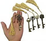 Makhry Mixed 15 Skeleton Key Shape Bottle Opener With Sikly Tassels for Classical Rustic Wedding Decoration