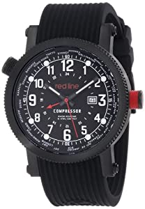 red line Men's RL-18003-BB-01 Compressor World Time Black Dial Black Silicone Watch