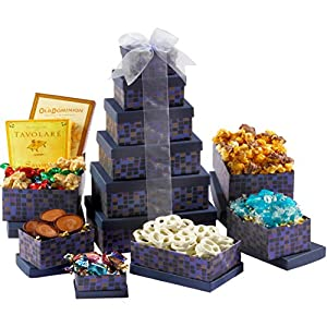 Broadway Basketeers Souring Saphire Sympathy Gift Tower (Kosher)