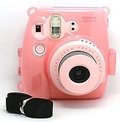 CAIUL Transparent Crystal fuji mini case for Fujifilm Instax Mini 8 Case (Pink)