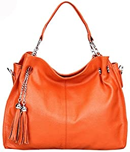 Heshe Fashion Women's Genuine Leather Cross Body Shoulder Bag Satchel Handbag Korean Style