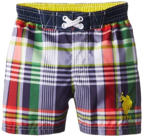 U.S. Polo Association Little Boys' Plaid Board Shorts, Navy, 4T