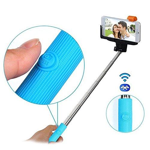 [オール-エイゾウラ]Allezola Bluetooth 自撮り棒 セルフィースティック ワイヤレス 無線 セルカ棒 手元にシャッターボタン付き スマホ自撮り棒 撮影 iPhone/Android対応 USB充電ケーブル付属 ブルー