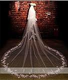Amazon.co.jp(エブレドレス)everydress 2016 花嫁ベール チュール アップリケ 長さ3.5m 幅3m ブライダルベール ラインストーン 二段ベール くし付き 結婚式