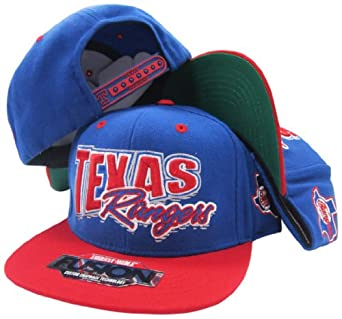 Texas Rangers Blue Red Fusion Angler Snapback Hat Cap by American Needle