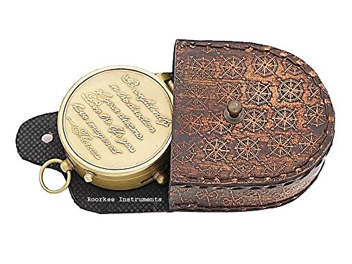 Thoreau's Go Confidently Stamped Quote Compass W/Stamped Compass Rose Case.