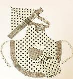 ShanTrip キッズ 水玉 エプロン 3点 セット エプロン & アームカバー & 三角巾 (チョコ)