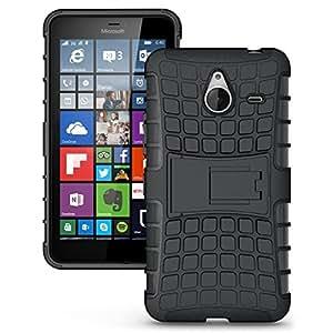 Wellmart Hybrid Defender Military Grade Armor Kick Stand Back Case Cover for Nokia Lumia 640 XL LTE Dual SIM (Black)
