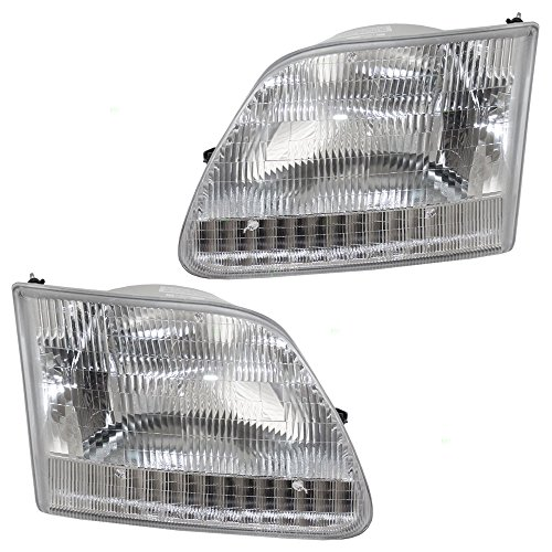 Driver and Passenger Headlights Headlamps Replacement for Ford Pickup Truck SUV 3L3Z 13008 DA 3L3Z 13008 CA (03 Ford F150 Headlights compare prices)