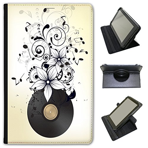 """Musica Abbondanza con note in Mayhem in pelle sintetica con funzione di supporto per Alba Compresse nero Old Vinyl LP In Notes & Flower ALBA 8"""""""