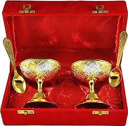 Jaipur Ace Metal Dessert Bowls, 4-Pieces, Gold