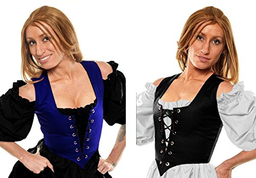 Renaissance Halloween Costume Belle Princess Peasant Wench Bodice Blue/Black
