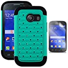 Phonelicious® For Samsung Galaxy Ace Style S765C (Straight talk, Trafcone, Net 10) Studded Diamond 2 in 1 Hybrid Dual Layer Spotted Bling Rhinestone Hard Protector Phone Case Cover Tuff Dynamic, Clear Guard Screen Protector, and Phonelicious® Stylus Pen(Teal Studded)
