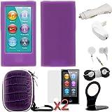 GTMax 9 Items Essential Accessories Bundle kit for The New iPod Nano 7G / Apple iPod Nano 7th Generation / 2012 New Model– Purple WaterProof Storage Eva Case & Silicone Case included