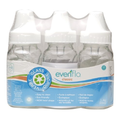 Evenflo Feeding Classic Twist Glass 4oz 3pk Clear - 1