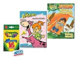 Go Diego Go and The Flintstones Coloring & Activities Books and 16 Crayola Crayons Box (Pack of 3)