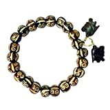 Starstell Free Size Smiling Face Brown Bone Bracelet With Hanging Elephants For Boys & Girls (Beads Size: 8mm)