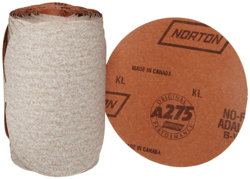 "Norton A275 No-Fil Adalox Abrasive Disc, Paper Backing, Adhesive Backed, Aluminium Oxide, 6"" Diameter, Grit P400 (Roll of 100)"