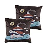 Art Decor Swede Dark Green Manpho Happy Ship Embroidery Cushion Cover Set Of 2 (16X16 Inches)