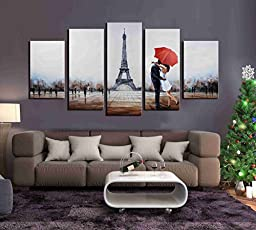 ARTLAND Hand Painted 28x50-inch \'Sleepless In Paris\' 5-piece Gallery-wrapped Canvas Landscape Wall Art Set