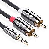 Ugreen 3.5mm ステレオミニプラグ to 2RCA(赤・白) 変換 オーディオ ケーブル, 小さなメタルコネクタ付き, 3m