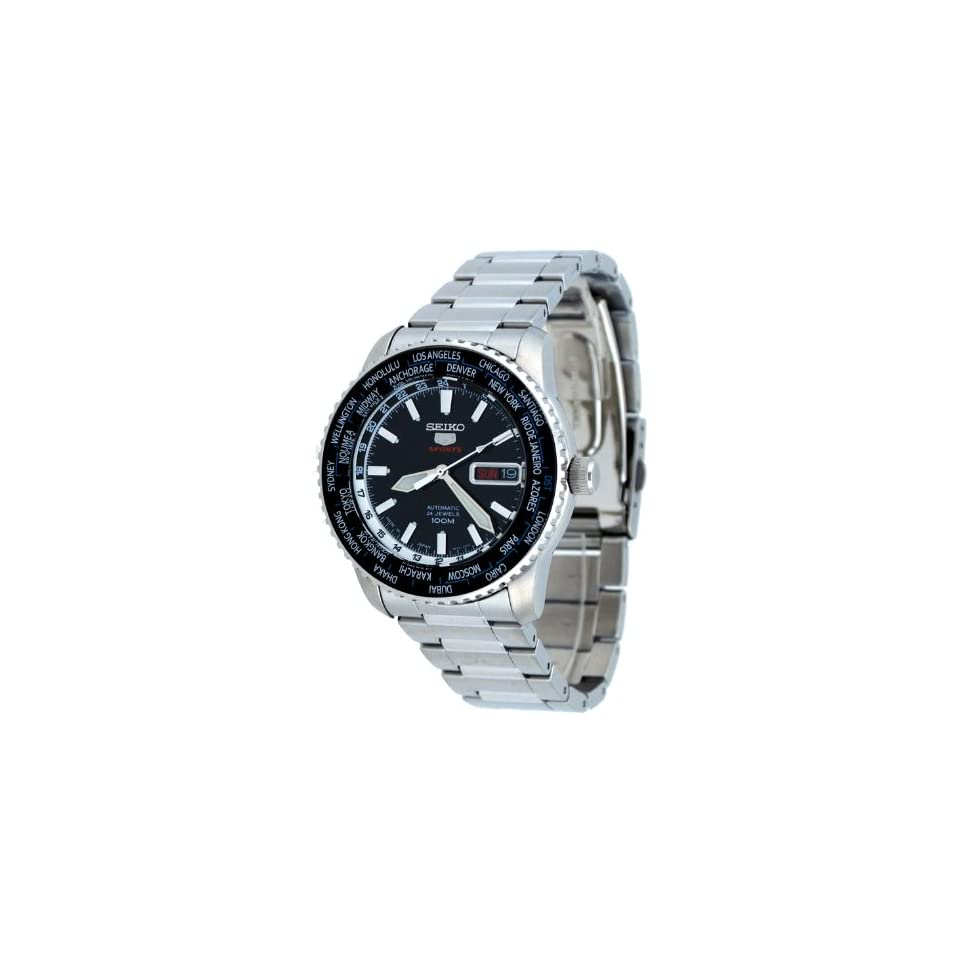 Seiko 5 Sports #SRP127J1 Mens Stainless Steel 24 Jewels World Time Automatic Watch