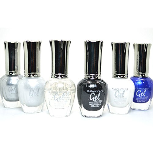 KLEANCOLOR-6-GEL-EFFECT-NAIL-POLISH-BLACK-WHITE-SILVER-TOP-COAT-LACQUER-K-GSET01-FREE-EARRING