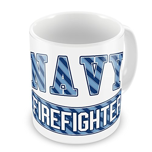 Coffee Mug Navy Firefighter, Blue Stripes - Neonblond