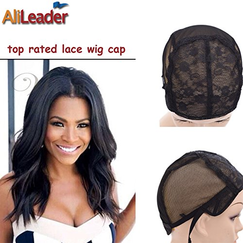 Black Double Lace Wig Caps For Making Wigs Hair Net with Adjustable Straps Swiss Lace Medium Size from AliLeader (Adjustable Wig Cap compare prices)