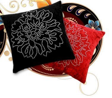 Diaidi Fashion Hold Pillow Cover Back Cushion Cover Rhinestone Peony Car Decorative Throw Pillowcases