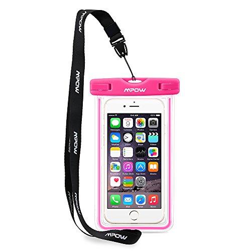 Mpow 防水携帯ケース スマートフォン用防水・防塵ケース iPhone6S/6 Samsung Galaxyなどに対応 IPX8 アウトドア潜水/温泉/釣り/お風呂/水泳など用の防水袋(ピンク)