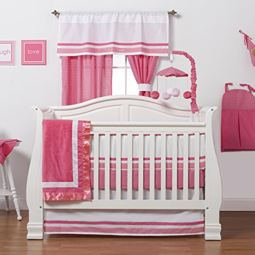 One Grace Place Simplicity Infant Crib Bedding Set, Hot Pink/White, 4 Piece