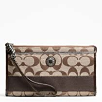 Coach Signature Stripe Zippy Wallet Khaki and Mahogany 48072