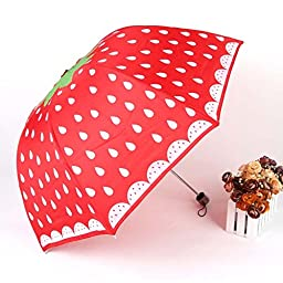 Melife® 1 Piece Creative Cute Novelty Strawberry Shaped Umbrella