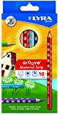 LYRA Groove Child-Grip Pencils, 4.25 Millimeter Lead Core, Set of 10 Pencils, Assorted Colors (3811100)