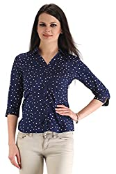 ZAIRE Women's Fashionable Polka Dotted 3/4 Sleeves Semi-Crepe Top (2274-3/4TH, Navy Blue,XL)