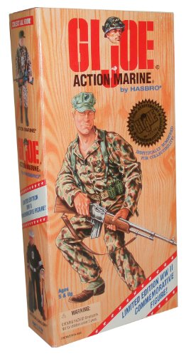 Buy Low Price Hasbro G.I. Joe Year 1995 World War II 50th Anniversary Commemorative Series with Individually Numbered Limited Edition 12 Inch Tall Soldier Action Figure – Action Marine with U.S. Marine Corps Uniform, Belt with Shoulder Strap and 4 Grenades, Canteen with Holder, Belt Pouch, Cap, Handknife with Leg-Strap Sheath, Boots, Dog Tag and Rifle (Hispanic Version) (B003KAQVGO)