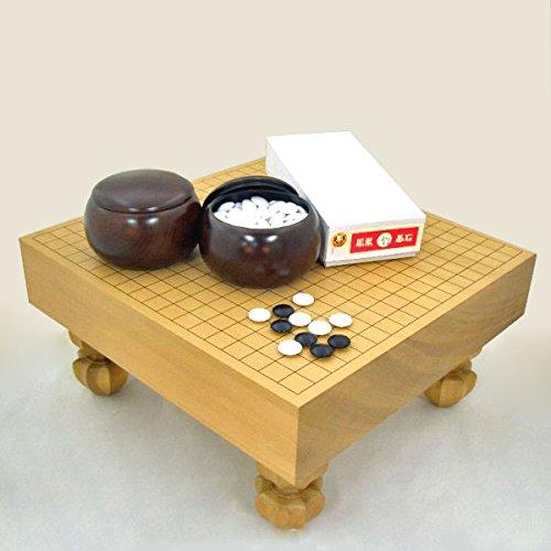囲碁セット 新桂3寸足付碁盤竹と赤ラベル碁石・銘木大碁笥