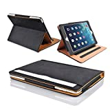"MOFRED� Black & Tan Apple iPad Air (Launched November 2013) Leather Case-MOFRED�- Executive Multi Function Leather Standby Case for Apple New iPad Air with Built-in magnet for Sleep & Awake Feature -- Independently Recommended by ""The Daily Telegraph"" as #1 iPad Air Case!"