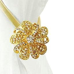 Ayygift 1 Pair European Style Diamond Flower Curtain Clips Magnetic Tieback Curtain Bind(Gold)