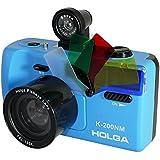 Holga K-200NM 35mm Film 135 Plastic Camera Viewer Fisheye Lens Flash LOMO Blue