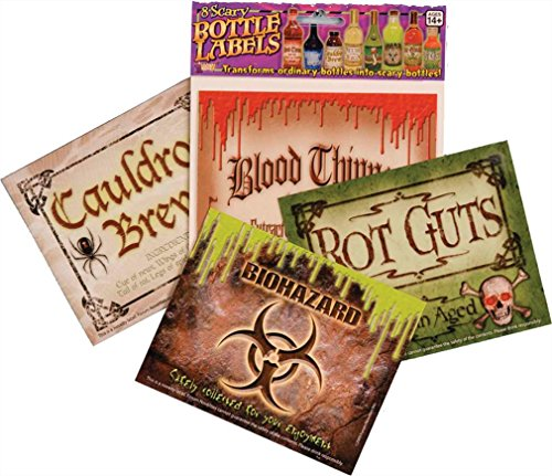 Scary Bottle Labels (8/Pkg) Prop Decoration