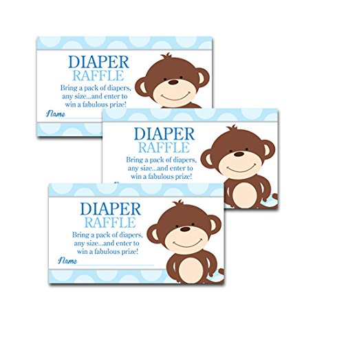 Happy Monkey Blue Boy Baby Shower Diaper Raffle Tickets 20-pack
