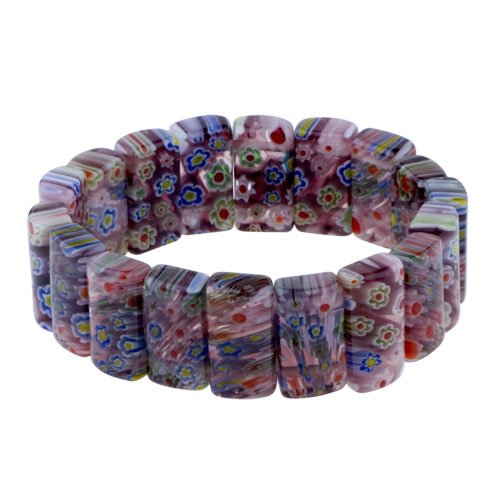 Pugster Fancy Flower Red Rectangle Murano Glass Bracelet