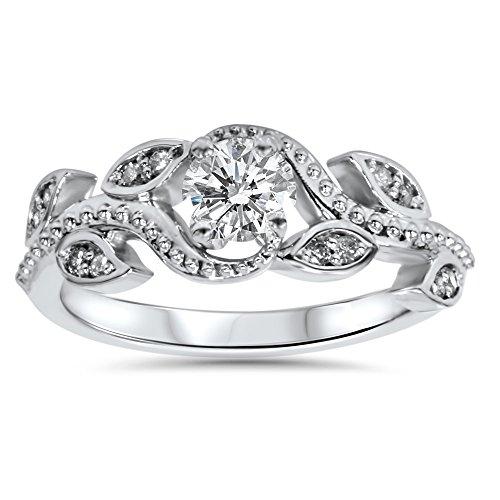 3/8ct Vintage Floral Leaf Diamond Engagement Ring 14K White Gold (Floral Engagement Ring compare prices)