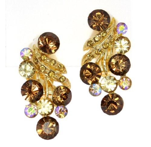 Vintage Austrian Sparkling Crystal Clip-On Earrings - Topaz